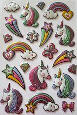 20 Pegatinas De Unicornio-Puffy/3D-Arco Iris-Pegatina/Stars - 20MM-65MM