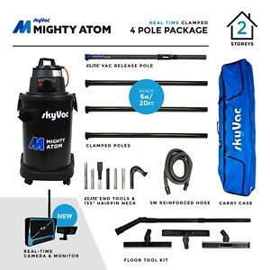 SkyVac® Mighty Atom Wet & Dry Gutter Vacuum & Inspection Camera + Clamped Poles