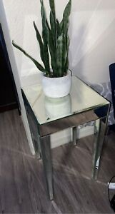 """Mirrored Modern End Table, 15"""" X 15"""" Approx."""