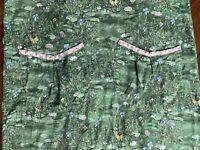 Vintage Floral Smock Apron Butterfly Fern Pond Lilypad Pockets Crossover Back L