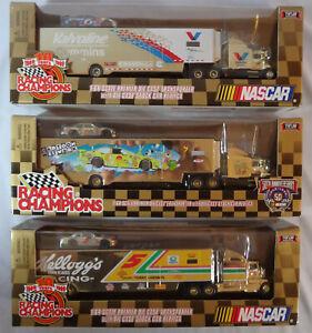 Racing Champions Nascar HAULER TRANSPORTER lot of 3 Kellogg's Valvoline Cartoon