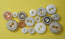 Vintage Antique Victorian China Glass Piecrust Buttons~16 Buttons