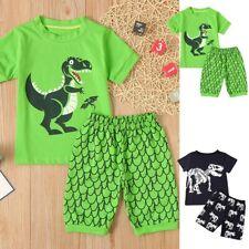 Children Kids Boys Cartoon Dinosaur Print Tops T-shirt+Shorts Pajamas Outfit Set