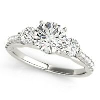 1.00 Ct Real Diamond Ring 14K Solid White Gold Women's Wedding Rings Size 5 6 7