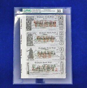 1860 Texas Brenham County Treasury SHEET PMG 55 ONLY ONE GRADE BY PMG RARE RARE