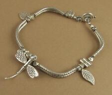Dragonfly leaf bracelet. Curvy. Fine & sterling silver 925. Handmade.