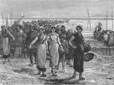 ILLE-ET-VILAINE. Fisherwomen of Cancale c1878 old antique print picture