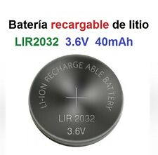 Batería Pila de Litio Recargable LIR2032 3.6V 40mAh Lithium Cell Button Battery