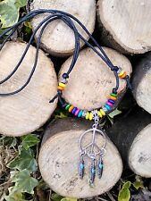 Black Cord*Peace*Hippy* Feather*Dream catcher* Wood Beads*necklace*choker*