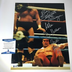 Ricky Steamboat Signed Photo Don Muraco Auto 11x14 WWF WWE BECKETT BAS