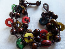 BROWN WOOD BEAD & MULTI COLOUR DISCS 21CM BEADS CORD BRACELET New voile pouch
