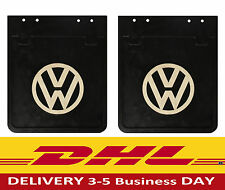 VW Bus Samba Bay window Camper  Accessory Black Mud Flaps with White Logo pair.