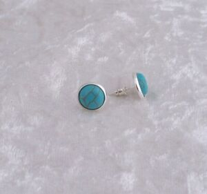 10 mm Turquoise Cabochon Silver Plated Stud Earrings.Handmade In Gift Bag