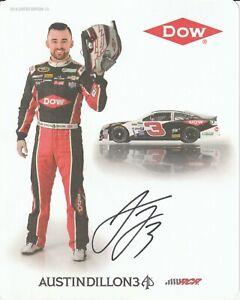 2016 AUSTIN DILLON signed NASCAR DOW PHOTO CARD POSTCARD CHEVROLET RACING RCR