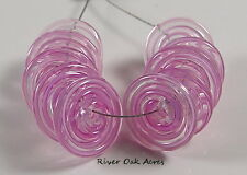 ROA Lampwork 10 Filigree Pink 3 x14 mm USA Disc Artisian Glass Beads SRA