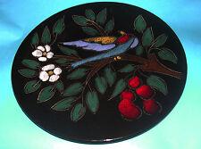 Studio Art Pottery - Attractive Bird In Bush Relief Design- 28cm Dia Wall Plaque