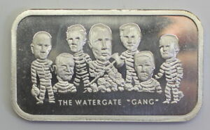 """COLONIAL MINT """"THE WATERGATE GANG"""" 1 OZ SILVER BAR COL-15, 1973"""