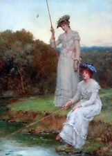 Oil painting William Oliver - Ladies fishing by break landscape no framed art