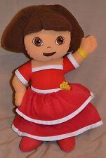 "16"" Dora The Explorer Plush Doll Stuffed Toys Red Dress Yellow Flowers Show"