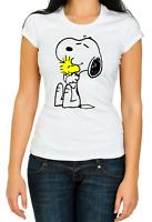 Snoopy Dog Peanuts Charlie Brown funny 3/4 Short sleeve Woman T Shirt K134
