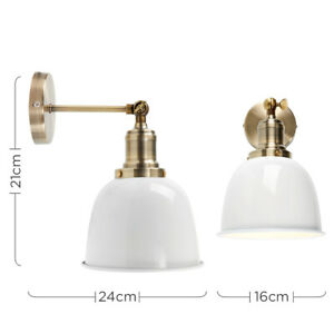 DEAL Metal Antique Brass Wall Lights Industrial Style with White Shade Vintage