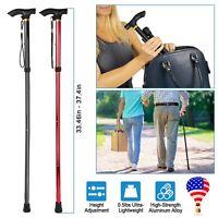 US Folding Handle Cane Adjustable Aluminum Stick Hiking Walking Trekking Travel