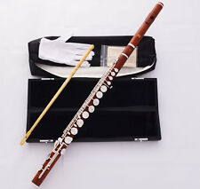 Professional Grenadilla Rose Wooden Alto Flute Silver G Keys With Pro Headjoint