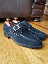 Bally Switzerland ORANO Men's Black Suede Leather Monk Strap Shoes Wide Sz 9 EEE
