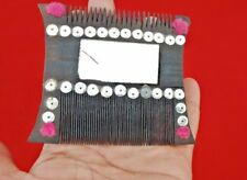 VINTAGE OLD UNIQUE SHAPE GLASS FITTED WOODEN HANDMADE TRIBAL LADY HAIR COMB K3