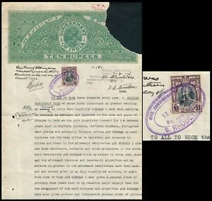 S. RHODESIA 1936, INDIA 10 r DOCUMENT WITH KGV £1 VALUE REVENUE, SEE...   #M21