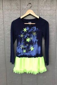 Justice Girls Dress Blue 10 Snowflake Glitter Jewel Tulle Ruffle