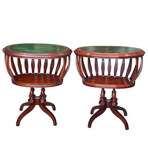 Vintage Duncan Phyfe Style Mahogany Green Leather Top Drum End Tables - a Pair
