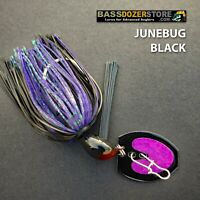 Bassdozer BLADED jigs. JUNEBUG BLACK SNAGLESS bass jig