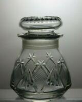 LEAD CRYSTAL CUT GLASS ROUND PICKLE JAR & LID