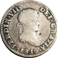 1815 Mexico Silver 1/2 Real, Mo J.J., KM# 74, Ferdinand VII, Nice VG