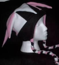 NEW fleece jester snowboarding hat pink blk white -ties