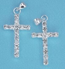 10x Rhinestone Crystal Silver Plated Cross Pendants Charms Diamante Beads 24mm