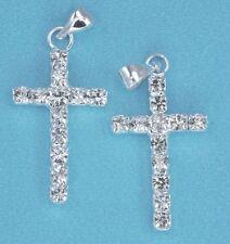 10x Rhinestone Crystal Silver Tone Cross Pendants Charms Diamante Embelishment