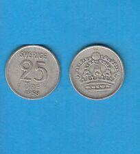 § Suède Sweden  Silver Coin 25 öre en Argent 1958