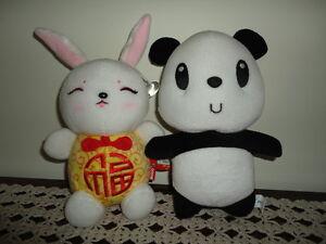 Hong Kong Ocean Park PANDA & Metoo Chinese Bunny RABBIT lot of 2 toys