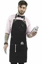 Barista Black Apron - Black Leather Straps and Loops -  Double Stitched - Turns