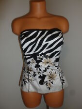 White House Black Market size 10  white black beige strapless shirt Retails $ 89
