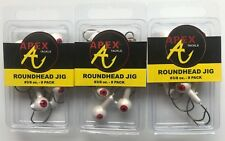 3 packs (24 jigheads total) of Apex 3/8 Ounce White Round w/Red Eye Jigheads