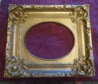 "Vtg Rococo Gold Gilt Extremely Ornate Lightweight FauxWood Picture Frame 16""x14"""