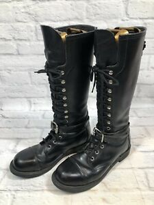 HARLEY DAVIDSON Womens 9 M Black Leather Tall Lace-up Moto Boots 98407-95vw u2h