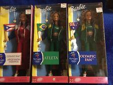 """Mattel Barbie Lot Of 3 Nrfb Nib """"Sydney Olympic Barbie� Olympic Fan,Atleta"""