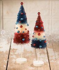 Bethany Lowe Americana Rocket Bottle Brush Trees Set 2 Red White Blue Patriotic