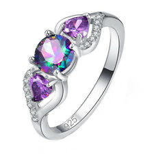 Women White Gold Rings Colorful Water Droplets Finger Ring Charm Jewelry RF