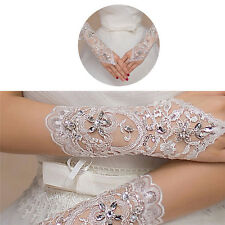 Bride White Gloves Beads Embroidery Beaded Short Wedding Dress Bridal Gloves*hot