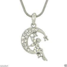 "W Swarovski Crystal Tinker Bell Tinkerbell Moon Fairy 18"" Chain Pendant Gift"